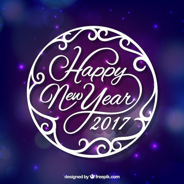 happy new year 2017 purple background free vector
