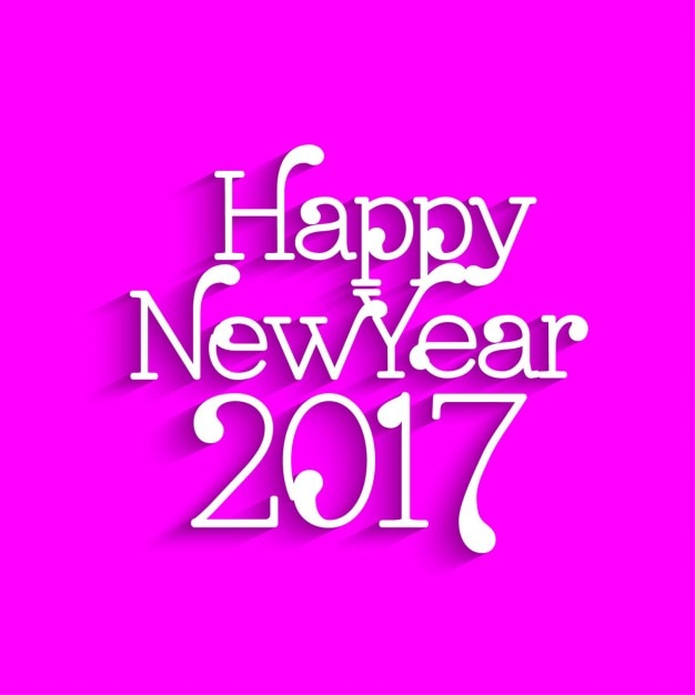 happy new year 2017 text design on pink background free vector