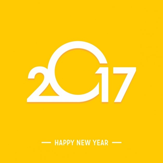 happy new year 2017 yellow background free vector