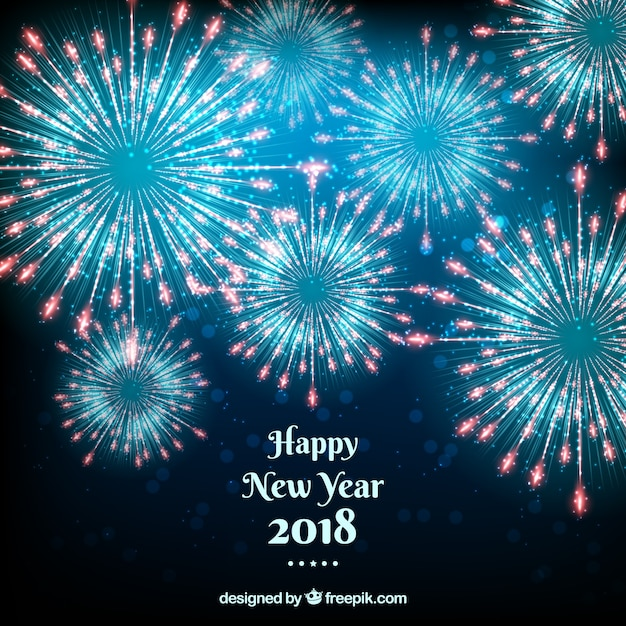 happy new year 2018 background with blue fireworks stock images page everypixel