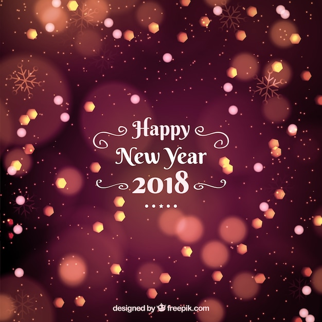 happy new year 2018 background with bokeh effect free vector