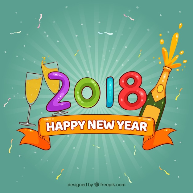 happy new year 2018 background with champagne free vector
