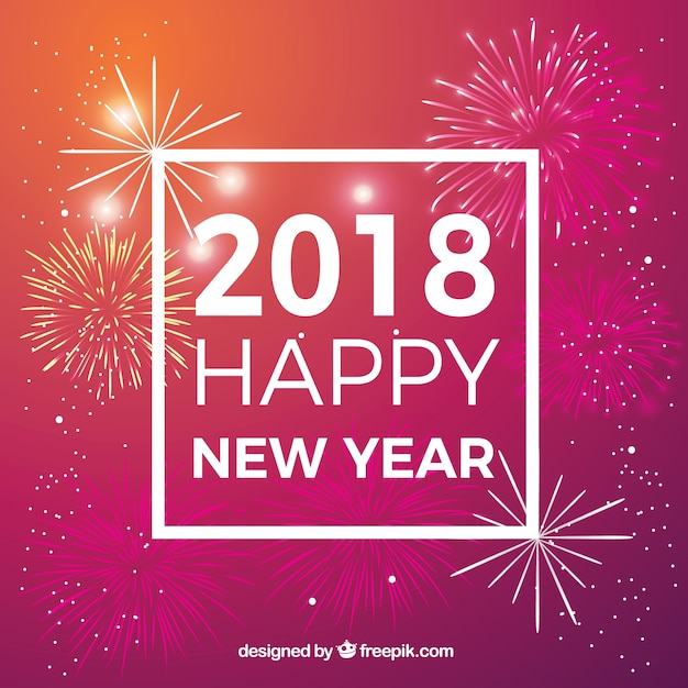 happy new year 2018 background with fireworks free vector