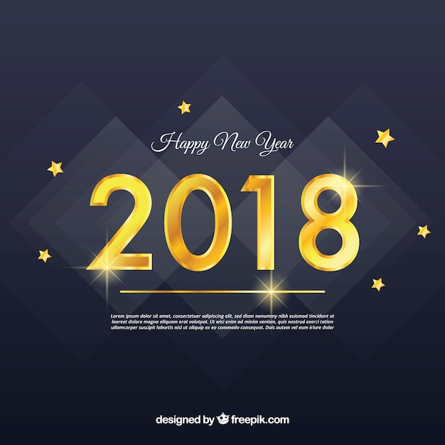 Happy new year 2018 background with golden\ digits