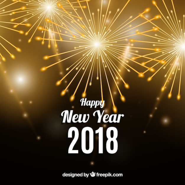 happy new year 2018 background with golden fireworks free vector