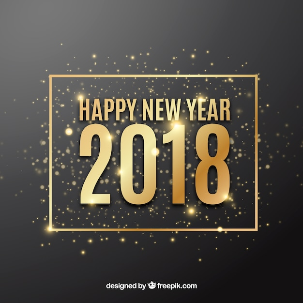 Happy new year 2018 background with golden sparkles