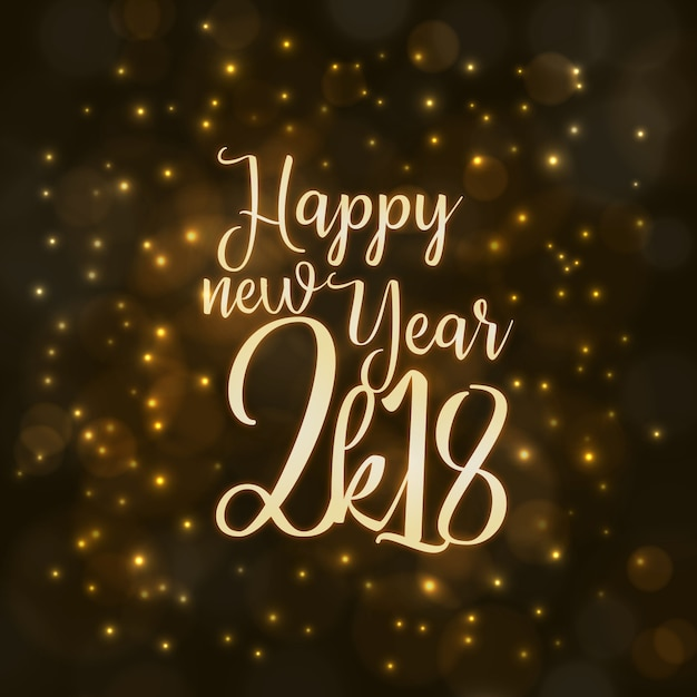 happy new year 2018 background with lighting effect vector free