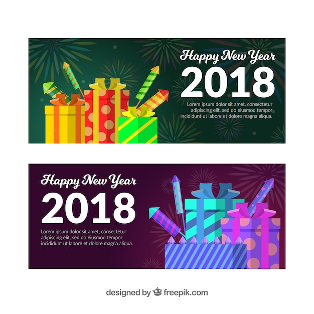 30139442e4339 Happy new year 2018 banners with gifts