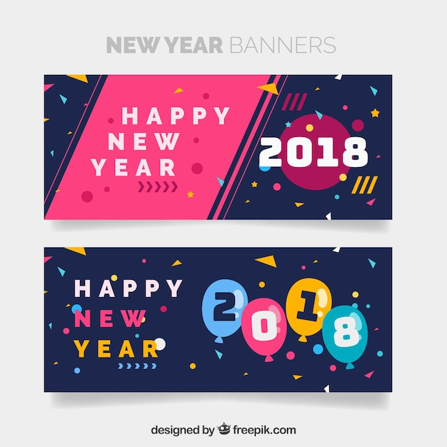 happy new year 2018 banners free vector