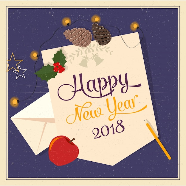 happy new year 2018 card free vector