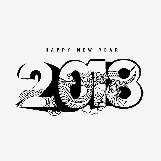 Happy new year 2018 design with floral decoration Vector ...