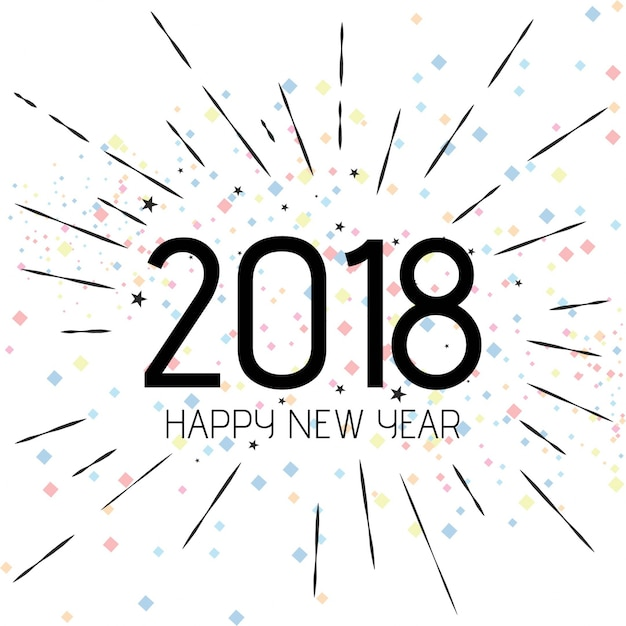 Happy New Year 2018 Design Free Vector