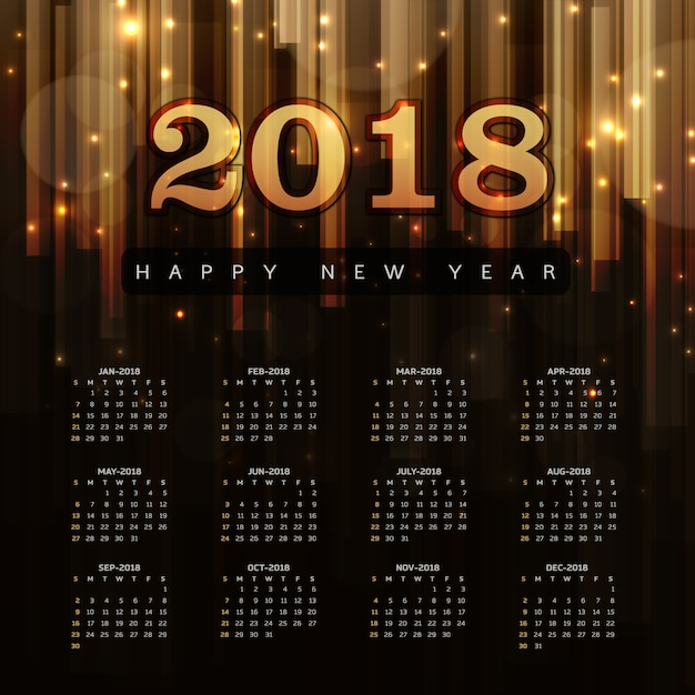 Happy New Year 2018 Elegant Royal background\ with Golden Bars Effect