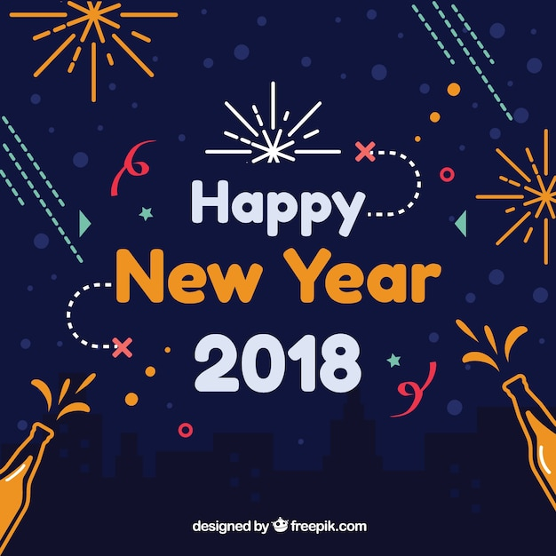 Happy new year 2018 flat background