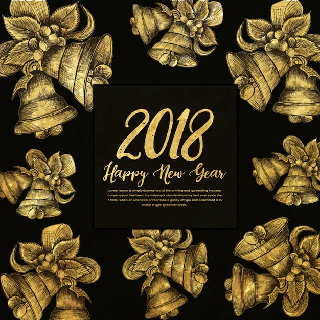 happy new year 2018 golden background with hatching style free vector