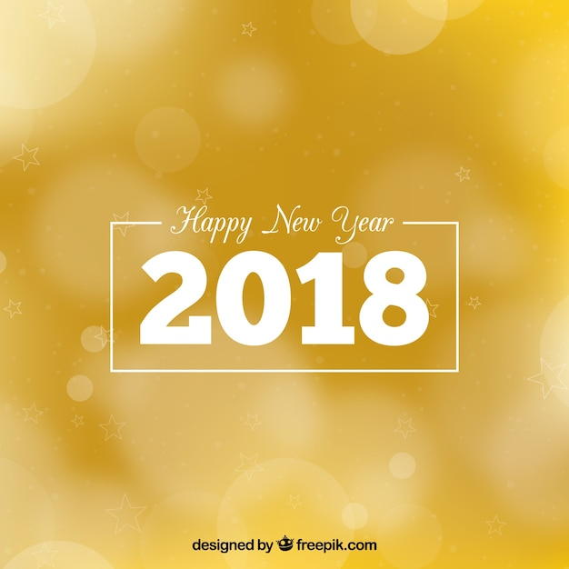 Happy new year 2018 golden blurred background Free Vector