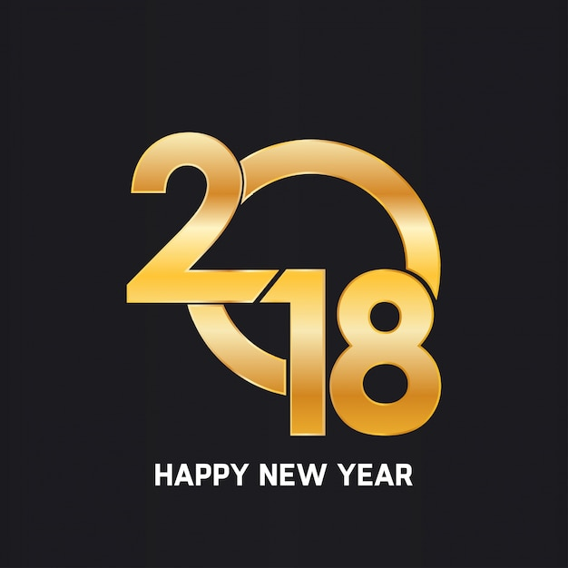 Happy new year 2018 golden text design Free Vector