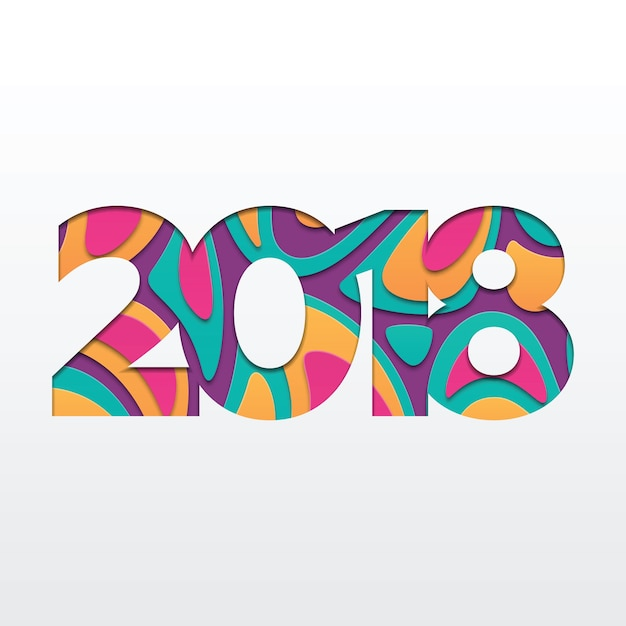 Happy New Year 2018 Greeting Card Paper Cut Shapes  Premium Vector