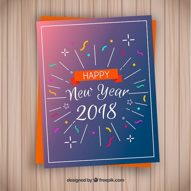 happy new year 2018 greeting card free vector