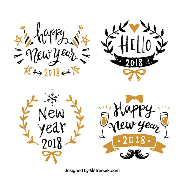 Happy new year 2018 hand drawn badges