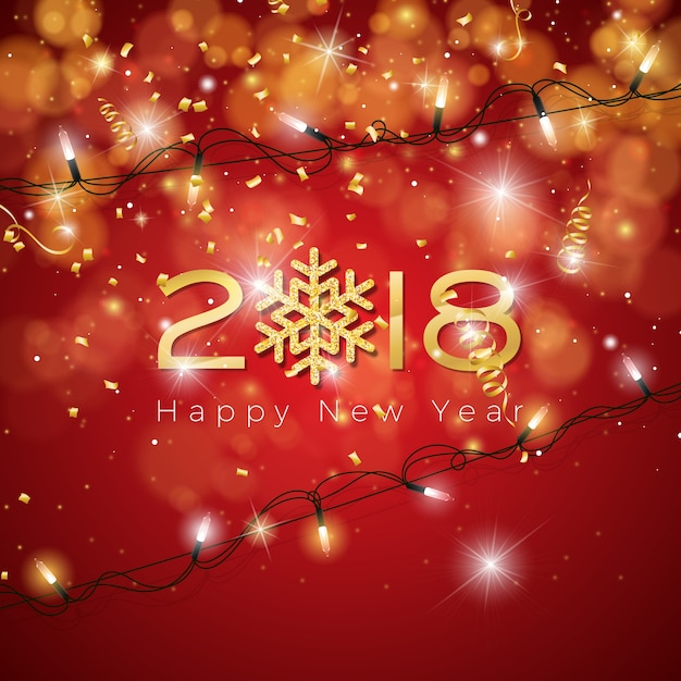 happy new year 2018 illustration on shiny lighting blue background with typography premium vector