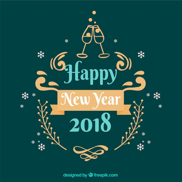 Happy new year 2018 in beautiful letters
