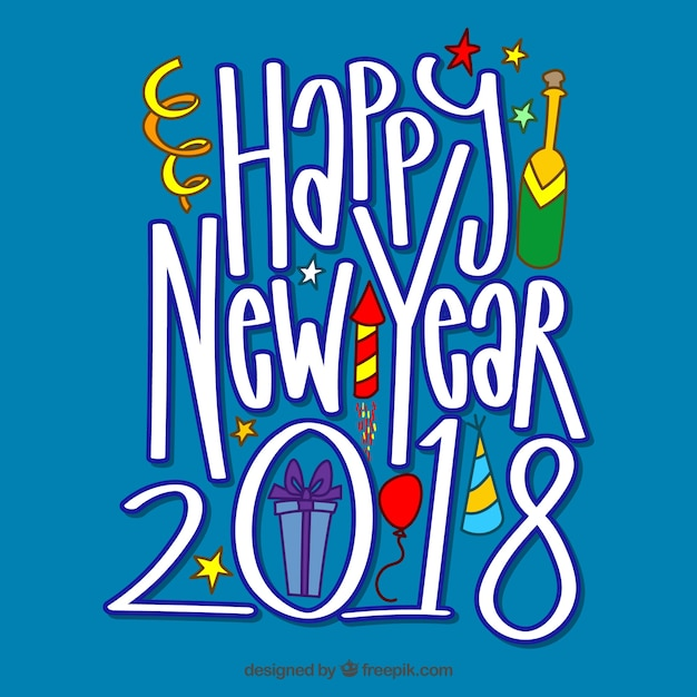 Happy new year 2018 in funny letters Vector | Free Download