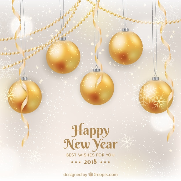 Happy new year 2018 in golden with\ baubles