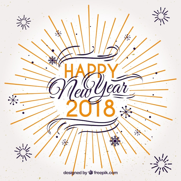 happy new year 2018 in nice letters free vector