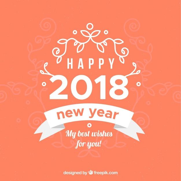Happy new year 2018 in orange