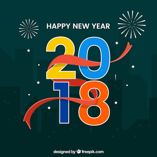 Happy new year 2018 in the city\ background