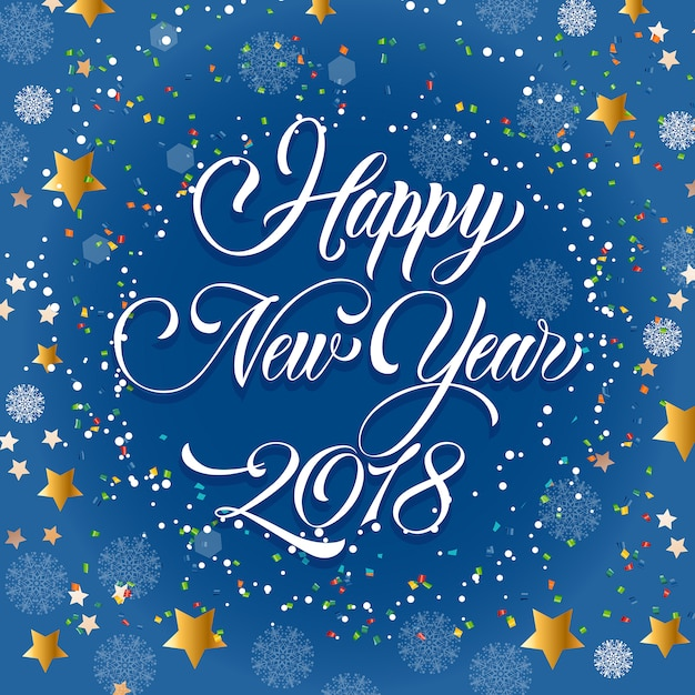happy new year 2018 inscription confetti free vector