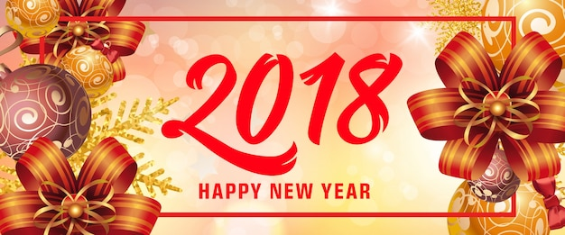 Happy New Year 2018 Inscription In Frame Vector Free Download