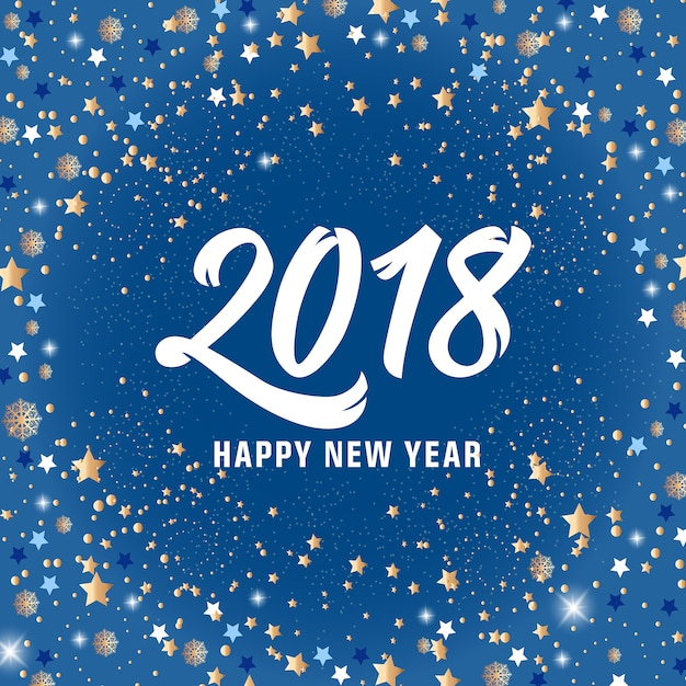 Happy New Year 2018 Lettering and Stars Free Vector