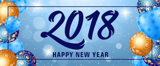 Happy New Year 2018 Lettering in Frame Free Vector