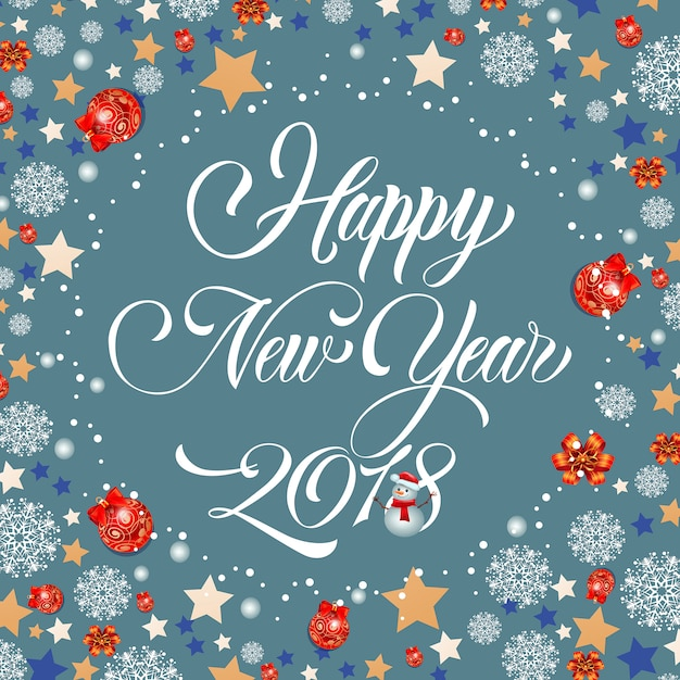Happy new year lettering snowman vector free download