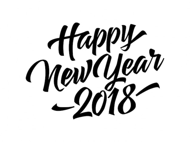happy new year 2018 lettering free vector