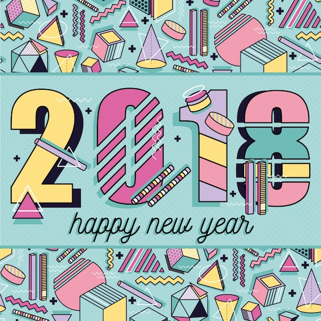 happy new year 2018 memphis style template abstract frame with colorful geometric elements shapes