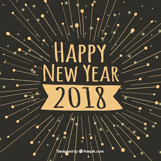 happy new year 2018 minimalistic background free vector