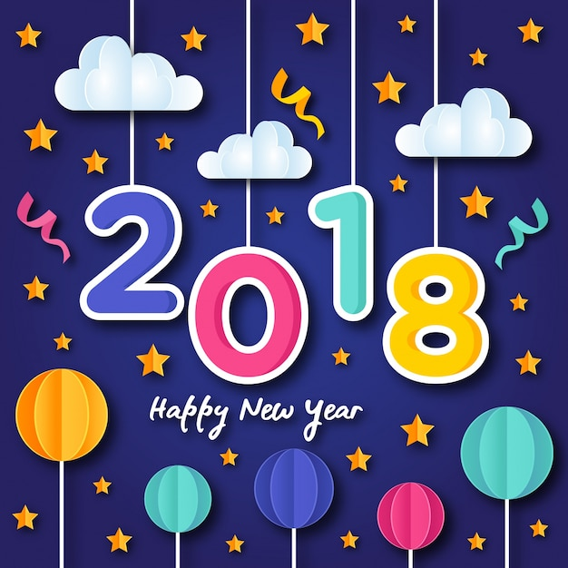 happy new year 2018 paper art greeting card illustration free vector