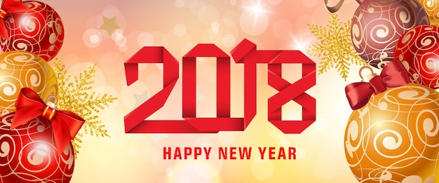 Happy New Year 2018 Paper Lettering Vector | Free Download