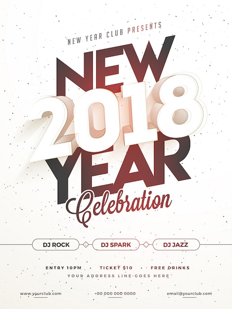 Happy New Year 2018 Party Poster, Banner or Flyer Design. Vector ...