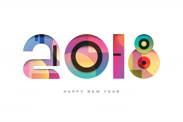 happy new year 2018 text design greeting card design template 2018 premium vector