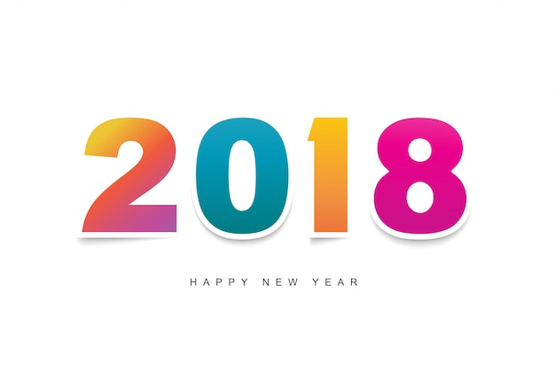 Happy New Year 2018 text design . Greeting card design template 2018 ...