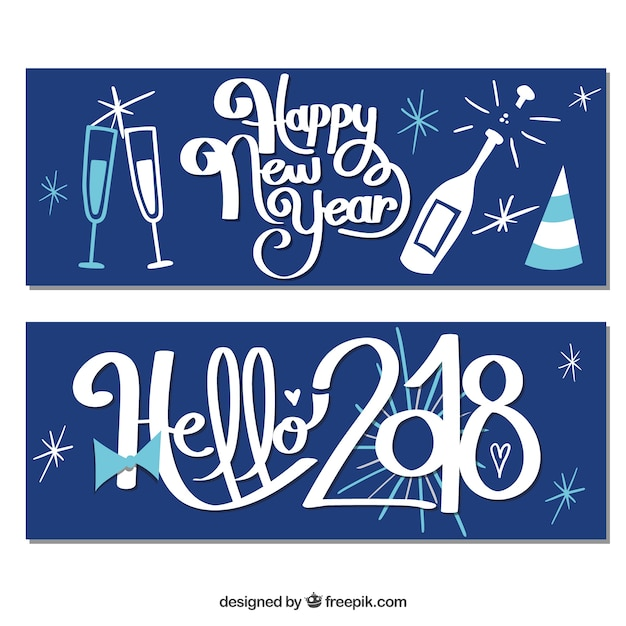 happy new year 2018 vintage banners free vector