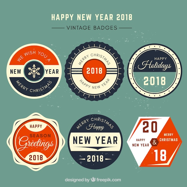happy new year 2018 vintage labels free vector