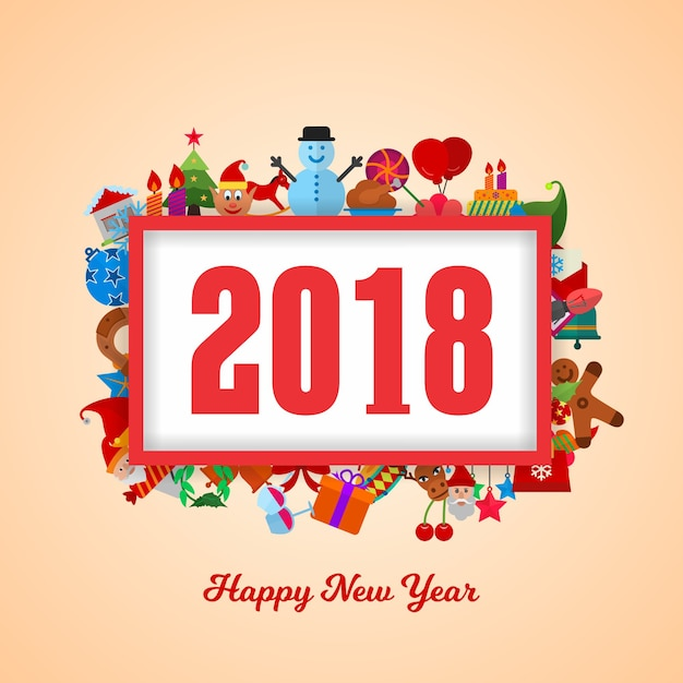 happy new year 2018 with christmas icons premium vector