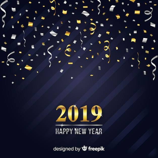 Happy new year 2019 background Free Vector