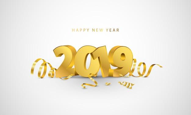 Happy new year 2019 background. Premium Vector