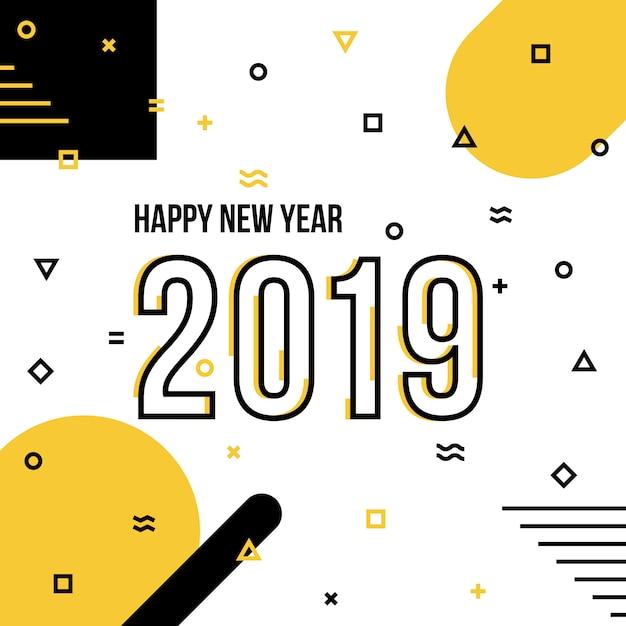 Happy new year 2019 background Premium Vector